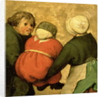 Detail of a child carried by two others by Pieter Bruegel the Elder