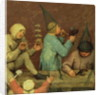 Children's Games: detail of left-hand section showing children making toys and blowing bubbles by Pieter Bruegel the Elder