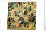 Detail of bottom section showing various games by Pieter Bruegel the Elder