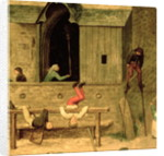 Detail of a boy on stilts and children playing in the stocks by Pieter Bruegel the Elder