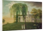 President George Washington on the porch of his house at Mount Vernon by American School
