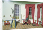 Dolley Madison removes paintings from the White house by American School
