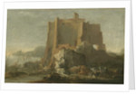 Landscape with rock and fortress, c.1640-50 by Domenico Gargiulo