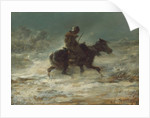 Man with Lance Riding through the Snow, c.1880 by Adolf Schreyer