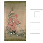 Cat amongst flowers by Japanese School