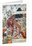The Mughal Emperor Babur about to oversea the laying out of a garden, using lines by Mughal School