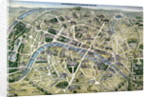 Map of Paris during the period of the 'Grands Travaux' by Hilaire Guesnu