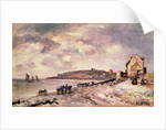 Seascape with ponies on the beach by Johan-Barthold Jongkind