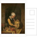 An Old Woman Scouring a Pot by Godfried Schalken or Schalcken