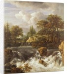 A Waterfall in a Rocky Landscape by Jacob Isaaksz. or Isaacksz. van Ruisdael