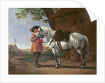 A Cavalier with a Grey Horse by Abraham van Calraet
