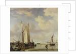 Dutch Vessels Inshore and Men Bathing by Willem van de
