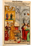 Henry of Ulm is awarded his knighthood by the Emperor at the Council of Constance by Ulrich von Richental