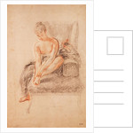 Semi-nude woman seated on a chaise longue, holding her foot by Jean Antoine Watteau