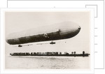 The first flight of the prototype airship Zeppelin LZ1, shown above a boat on Lake Constance, Friedrichshafen, 2nd July 1900 by German Photographer