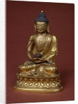 Buddha Amitayus seated in meditation holding the vase of nectar (amrta) in his lap by Tibetan School