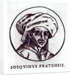 Josquin des Pres engraved from a work in St. Gudule Cathedral, Brussels by French School