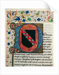 Historiated initial 'D' depicting the coat of arms of the Clairvaux family by French School