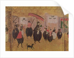 St. Francis Xavier and his entourage, detail of the right-hand section of a folding screen depicting the arrival of the Portuguese in Japan, Kano School by Japanese School