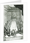 Reception of an Member of the French Academy, engraved by Francois Poilly by F. Delamonce