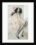 Paulette Reading Sitting on her Toy Dog by Paul Cesar Helleu