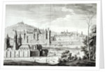 View of the Abbey of Saint-Germain-des-Pres, the Louvre, Petit Bourbon, Montmartre and the Seine in 1410, engraved by Antoine Herisset by Jean Chaufourier
