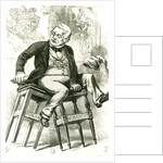 Caricature of Adolphe Thiers between two stools by English School