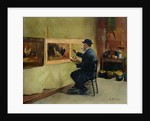Charles Philippe Gevens, father-in-law of the artist, painting in his studio 21, avenue d'Eylau by Jules Ernest Renoux