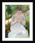 Young Woman Sewing in the garden by Mary Stevenson Cassatt
