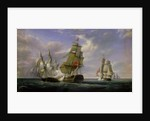 Combat between the French Frigate 'La Canonniere' and the English Vessel 'The Tremendous' by Pierre Julien Gilbert