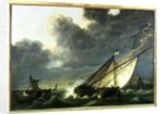 Boats in the Estuary of Holland Diep in a Storm by Aelbert Cuyp