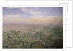 General view of Paris from a hot-air balloon by Victor Navlet
