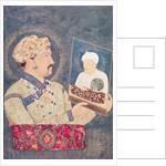 Emperor Jahangir holding a portrait of Emperor Akbar by Indian School