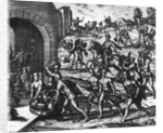 Indians bringing Balboa vases and gold objects by Theodore de Bry