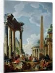 Architectural Capriccio with a Preacher in the Ruins by Giovanni Paolo Pannini or Panini