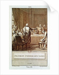 Benjamin Franklin Presenting his Opposition to the Taxes in 1766, engraved by David by Le Jeune