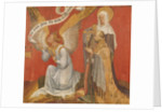 Panel from a diptych depicting the Angel of the Annunciation, the Donor and a Female Saint, possibly St. Mary Magdalene by Master of the Rohan Hours