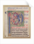Historiated initial 'P' depicting a boar hunt by French School