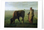 Woman Grazing her Cow by Jean-Francois Millet
