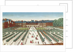 Perspective view of the Palais Royal from the Gardens by French School