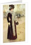 A Parisian Woman in the Bois de Boulogne by Jean Beraud