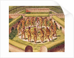 Dancing around a captive before the hut containing the Tamerkas or idols by Theodore de Bry