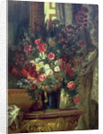 Vase of Flowers on a Console by Ferdinand Victor Eugene Delacroix