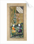 Two Figures Reading and Relaxing in an Orchard by Persian School