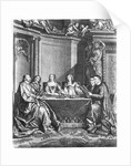 St. Vincent de Paul and Cardinal Jules Mazarin at the Conseil de Conscience of Louis XIV engraved by Gerard Scotin by French School