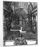 Funeral of Marie-Louise d'Orleans Queen of Spain, at the church St. Paul St. Louis, Paris by engraved by Juan Dolivar late 17th century