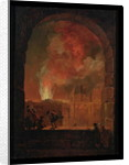 Fire at the Opera of the Palais-Royal, View from the Louvre by Hubert Robert
