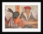 Interior of an Inn, detail of two men playing a board game by Italian School
