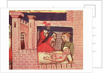 Caring for an injured man in a castle by Italian School