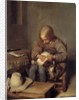 The Flea-Catcher (Boy with his Dog) by Gerard ter Borch or Terborch